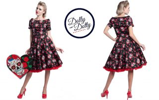 Dolly and Dotty - Rockabilly Skulls Roses Darlene Swing Dress