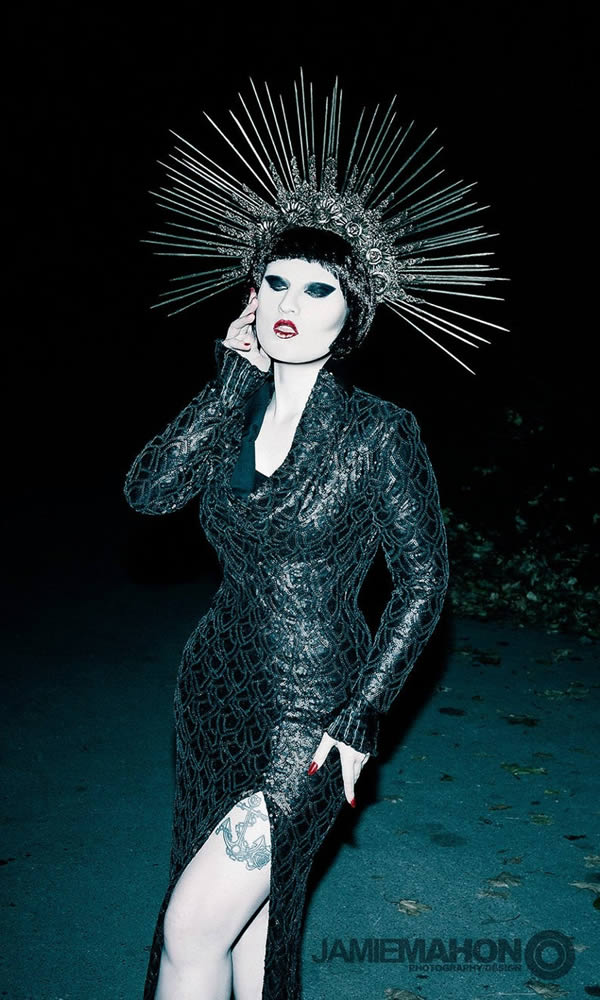 Gothic Sequin Cowl Dress Image - The Last Kult