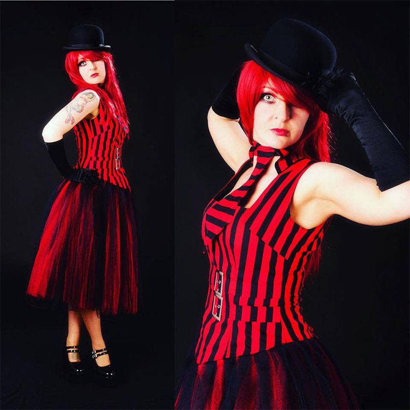 Red Striped Waistcoat and Skirt - House of Goth