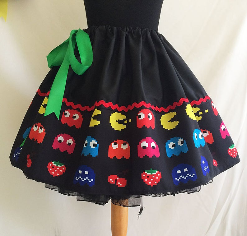 Retro Video Games Pacman Skirt Image - Rooby Lane