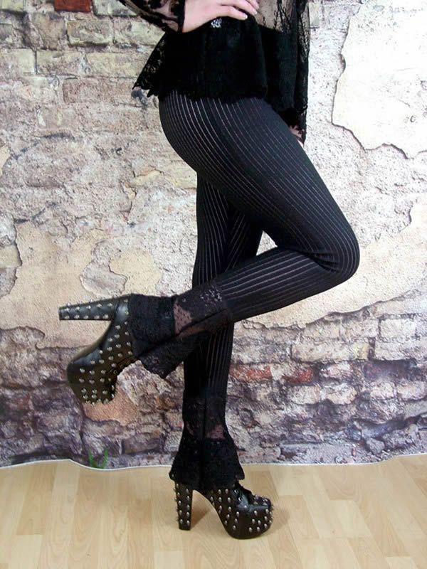 Striped Lace Bootcut Leggings Image - The Last Kult