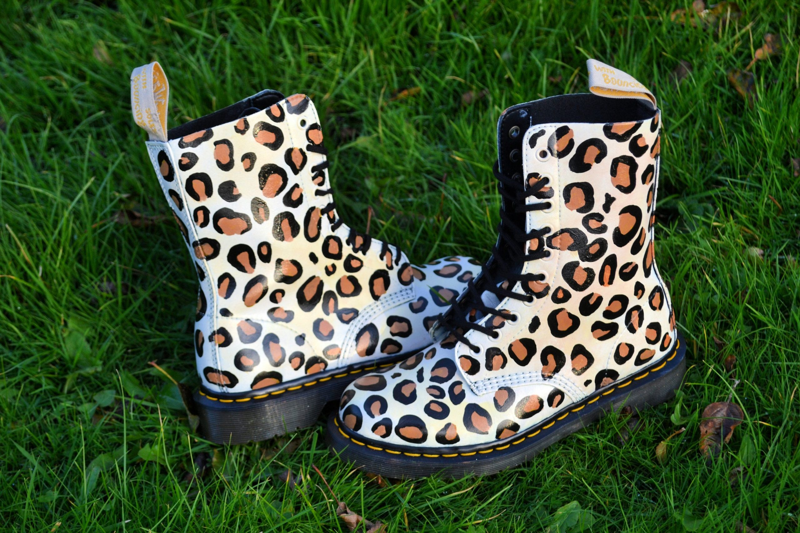 Custom Dr Marten Vegan Boots Cheetah Print - She Talks To Rainbows