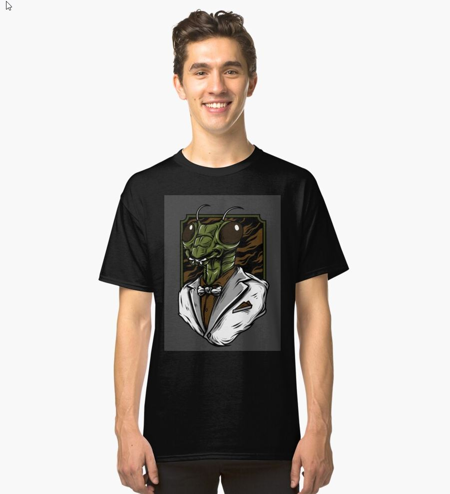 Quirky Artwork Insects Mantis Wearing A Suit Tee Image - Redbubble