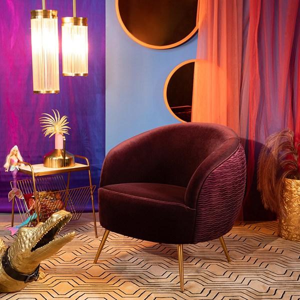 Deep Purple Velvet So Curvy Chair by Cuckooland