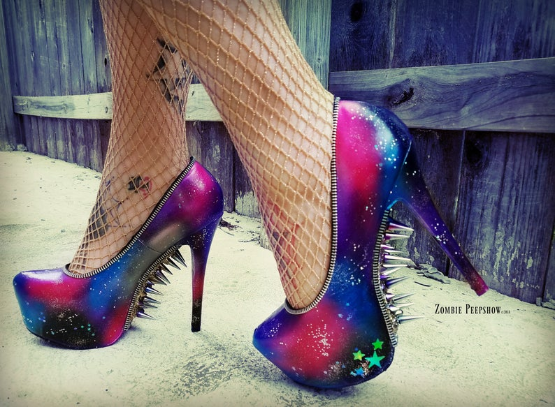 Galazy Intergalactic Planetary Spike Pumps Shoes - ZombiePeepShow