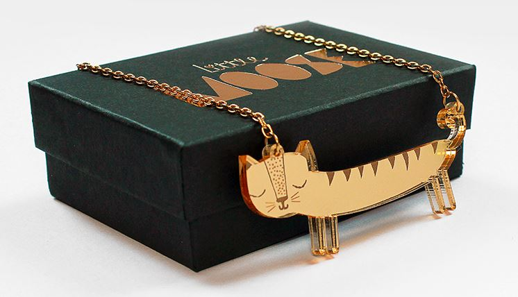 Gold Colour Cat Necklace by Little Moose