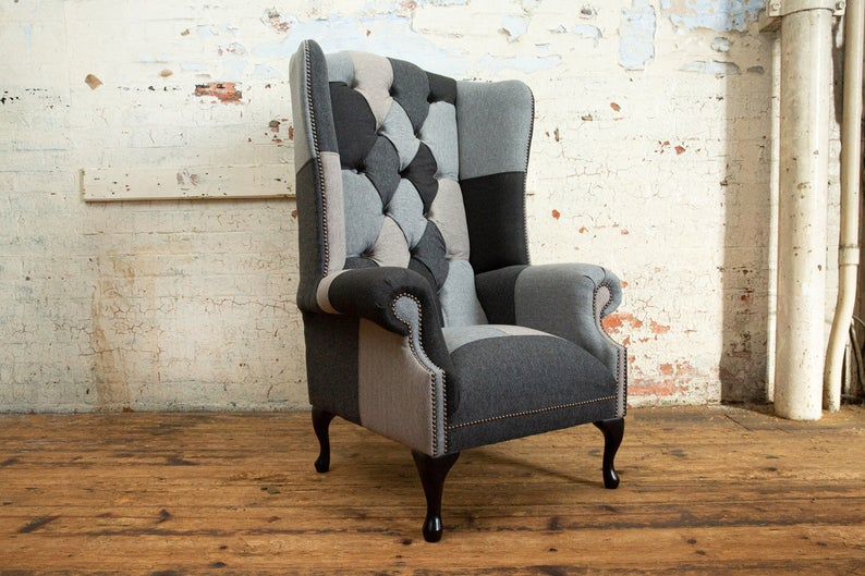 Handmade Patchwork Chesterfield High Back Wing Chair - Abode Sofas