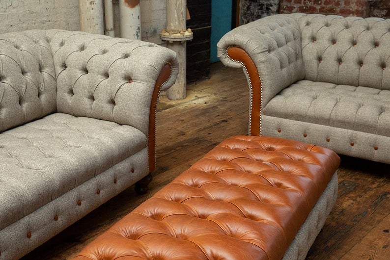 Large 3 seater and 1.5 seater vintage tan leather sofa set - Abode Sofas