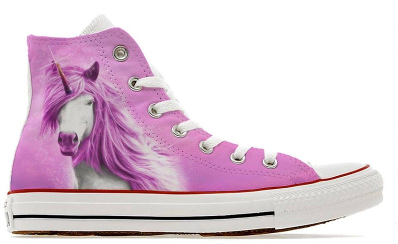 pink girly unicorn converse high top shoes - shoe2kill
