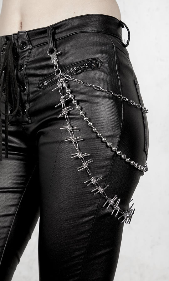 Barbed Triple Belt Chain Trouser Image - Disturbia