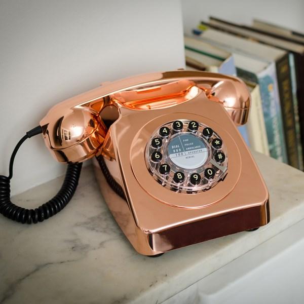 Retro Telephone in Brushed Copper - Cuckooland
