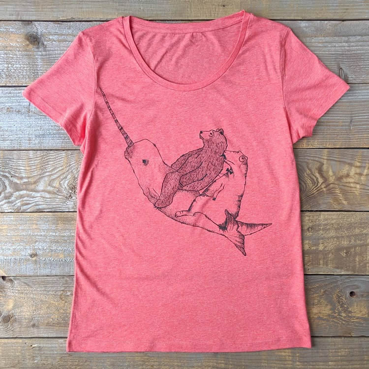 Narwhal Womans Scoop Organic Tee - Dont Feed The Bears