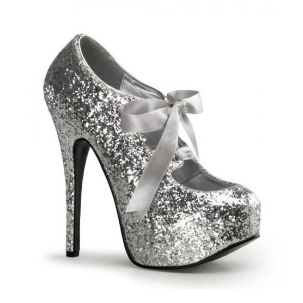 Silver Glitter High Heels - Love Burlesque