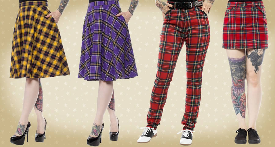 Sourpuss Everything Plaid Alternative Clothing Banner