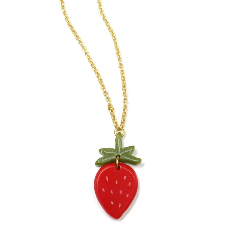 Acrylic Strawberry Necklace - Hannah Zakari