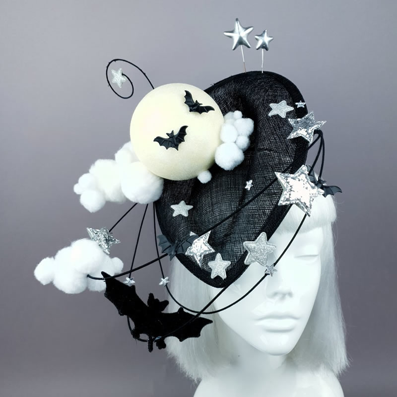 Bats Moon Clouds Fascinator Hat - Pearls and Swine