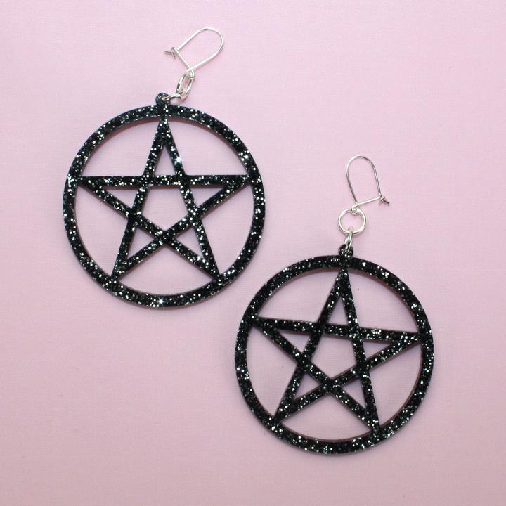 Black Glitter Pentagram Earrings - Sour Cherry
