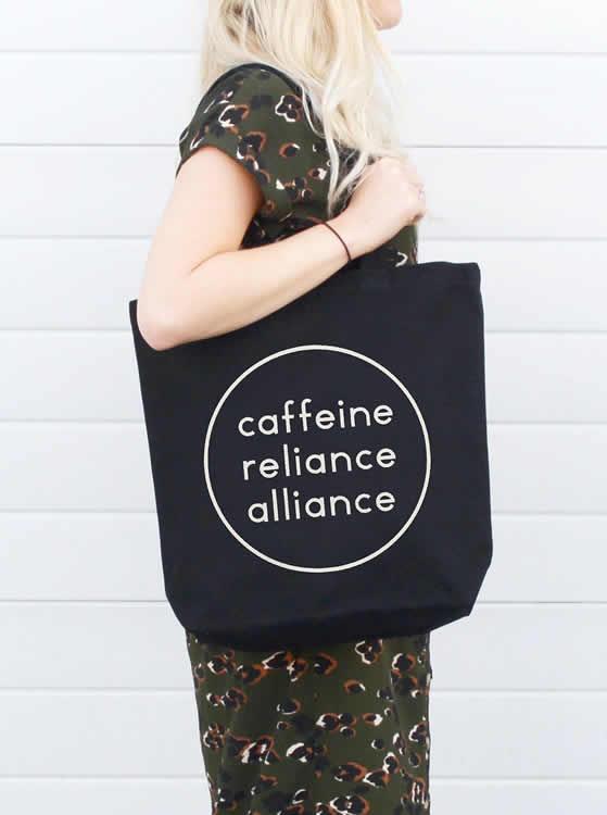Caffeine Reliance Alliance Tote Bag - Alphabet Bags