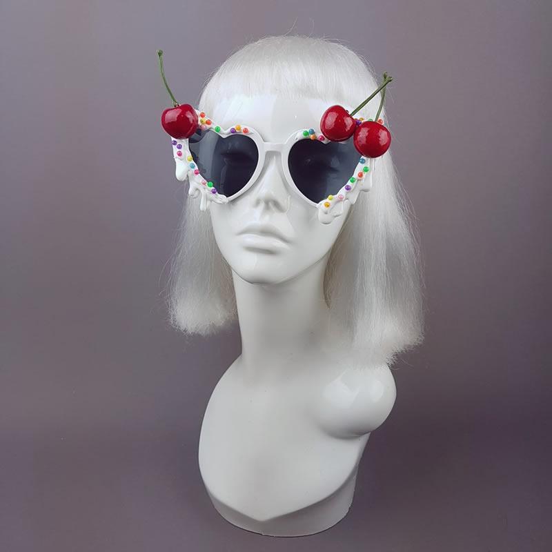 Cherries & Cream Heart Shaped Sunglasses - Pearls and Swine