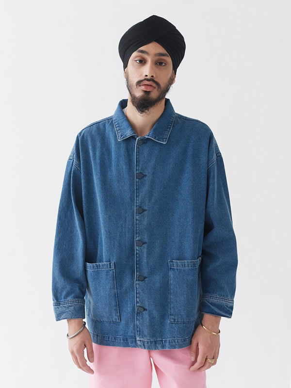 Chore Jacket Blue Denim - Lazy Oaf