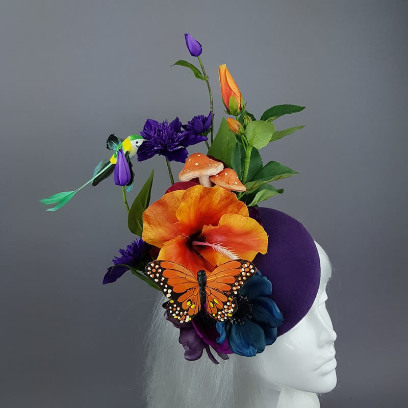 Colourful Flower & Hummingbird Fascinator - Pearls and Swine