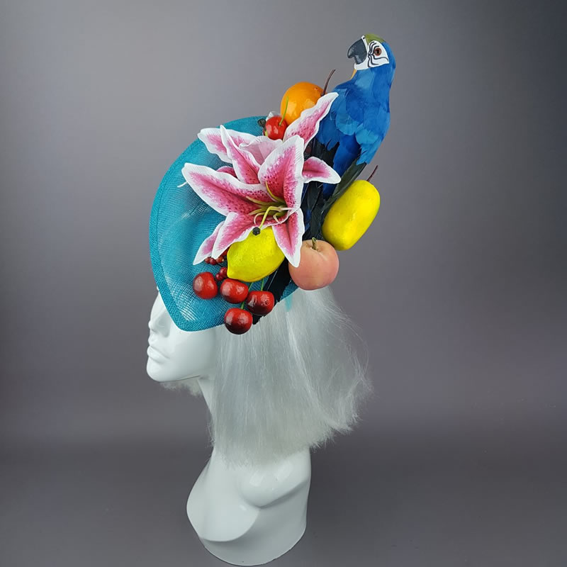 Colourful Parrot Fruit Tropical Fascinator Hat - Pearls and Swine