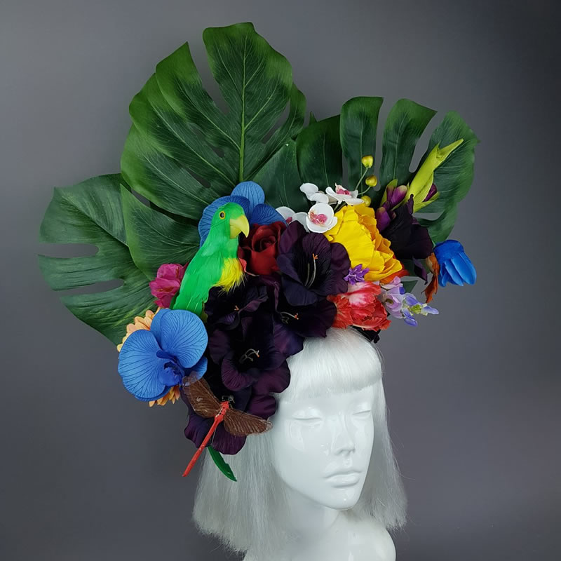 Colourful Parrot & Tropical Flower Headdress - Pearls and Swine