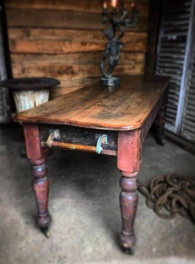 Fruitwood top on Victorian Base Table - Quirky Interiors