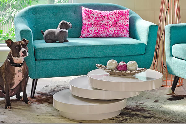 Funky Blue Sofa and quirky Table - Fabulous Furniture