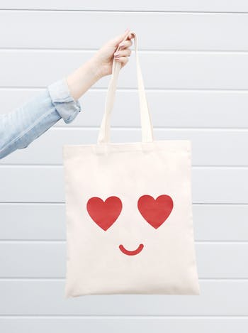 Heart Eyes Cotton Tote Bag - Alphabet Bags