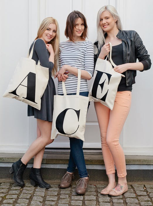 Initial Cotton Tote Bag - Alphabet Bags