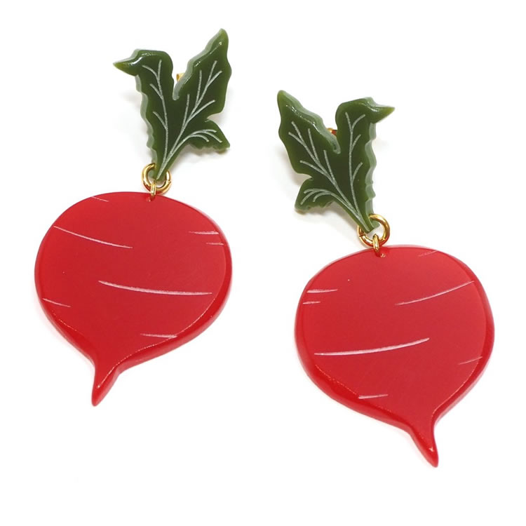 Large Acrylic Beetroot Earrings - Hannah Zakari