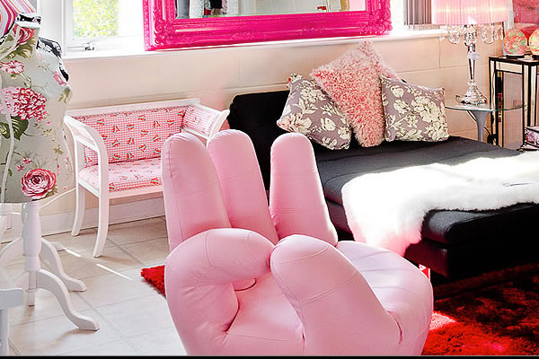 Pink Hand Bedroom Chair - Fabulous Furniture