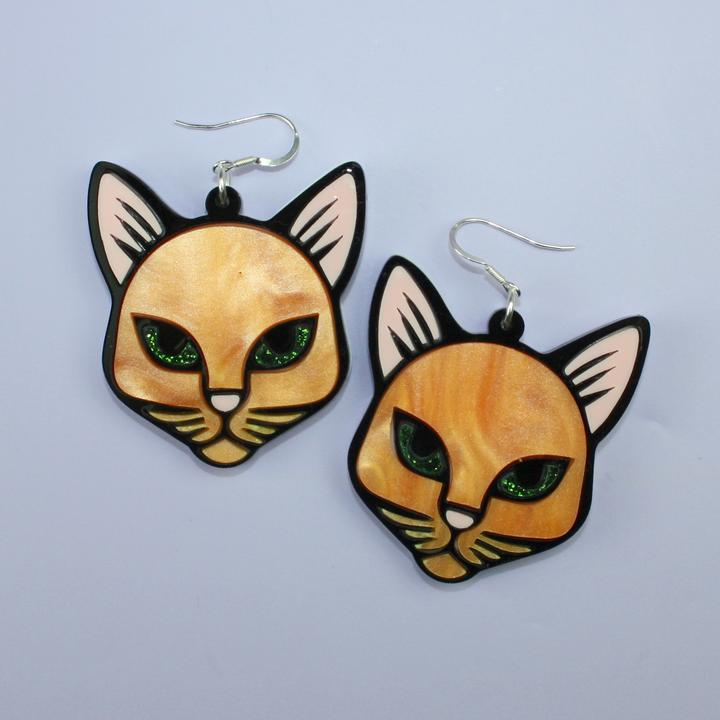 Purrrfect Ginger Cat Earrings - Sour Cherry