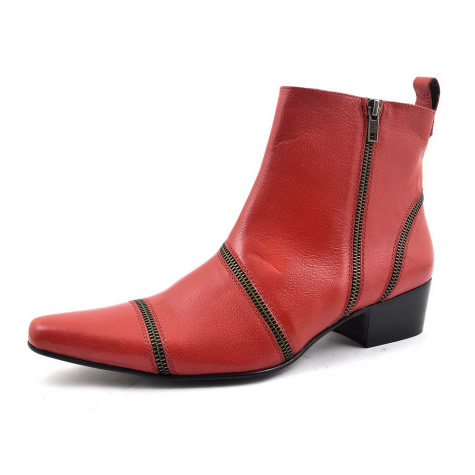 Sandro Red Heel Zip Up Boot - Gucinari