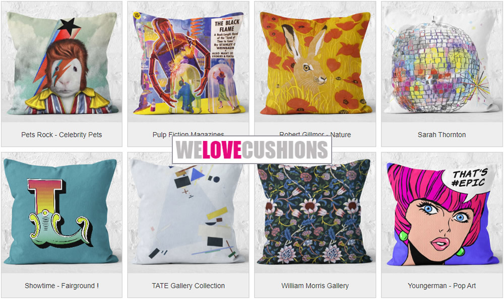 We Love Cushions - Quirky Soft Furnishings Banner