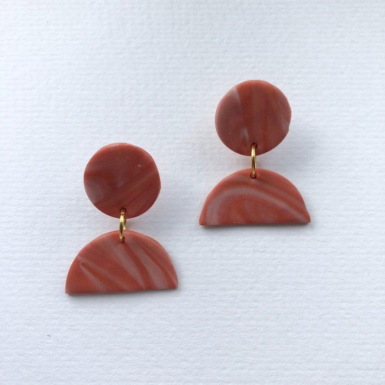 Little Sun Drop in Marble Rust Polymer Clay Earrings - Sundaze Jewellery