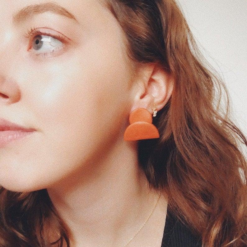 Little Sun in Rust Polyer Clay Earrings - Sundaze Jewellery
