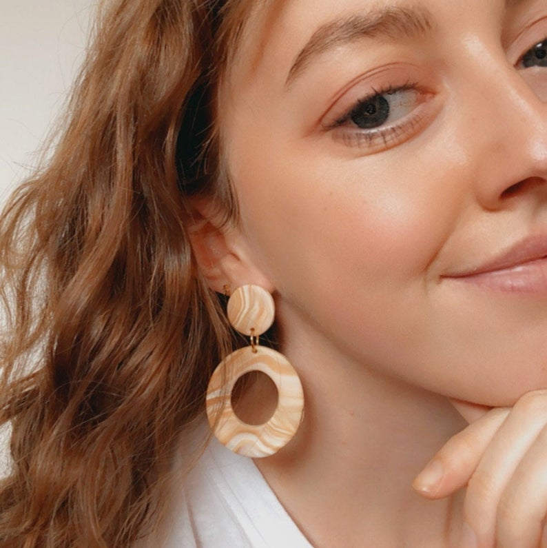 Sandstone Polymer Clay Earrings Pic2 - Sundaze Jewellery