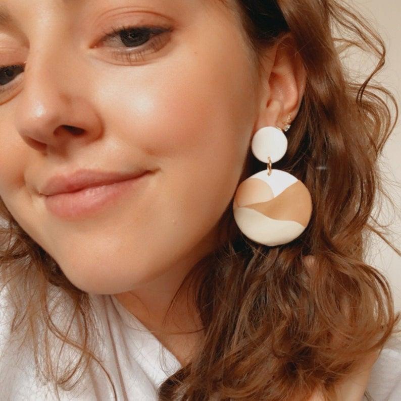 Zara Desert Sun Polymer Clay Earrings Pic2 - Sundaze Jewellery