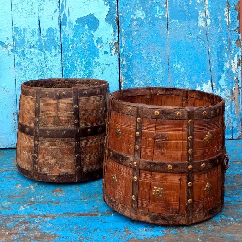 antique Indian wooden iron banded vessel - Vinterior