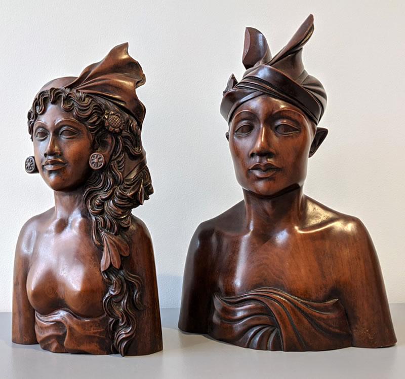 mid century teak bali busts from a gentleman collector - Vinterior