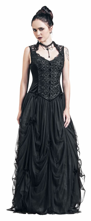 Black Velvet Long Gothic Dress - EMP