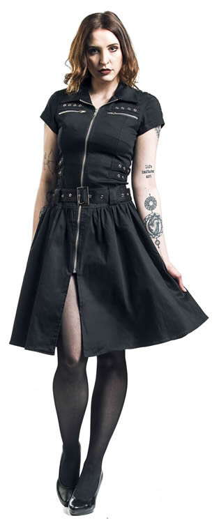Black emo punk long dress - EMP