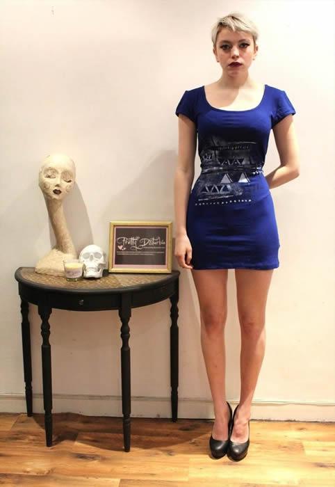 Electric Blue Bodycon Dress Hand Painted Aztec Print Boho Punk Grunge Alternative - PrettyDisturbia