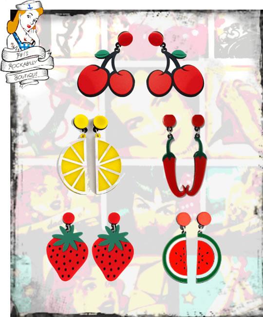 Fruity Hot Earrings - Fifis Rockabilly Boutique