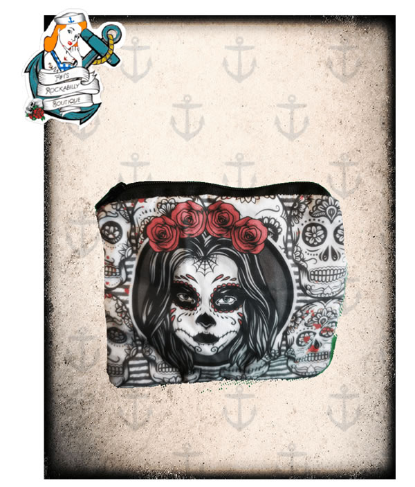 Purse with Red and Black Skull - Fifis Rockabilly Boutique