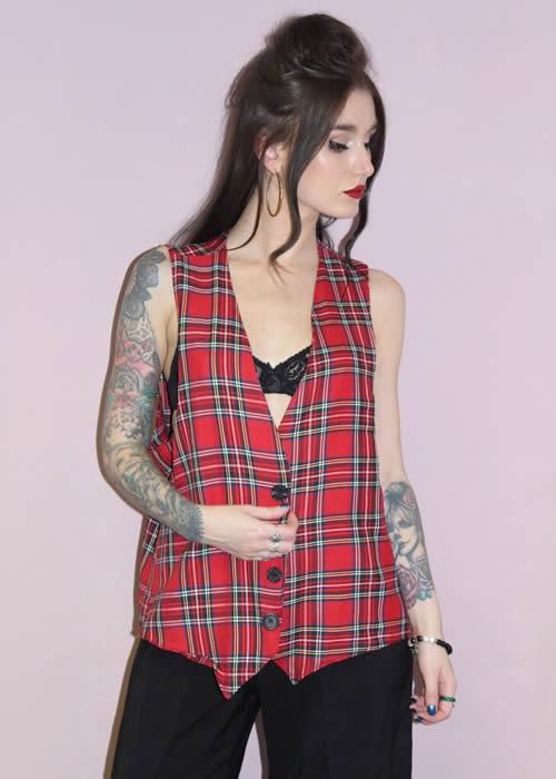 Tartan Waistcoat Punk Grunge Festive Black and Red Sleeveless - PrettyDisturbia