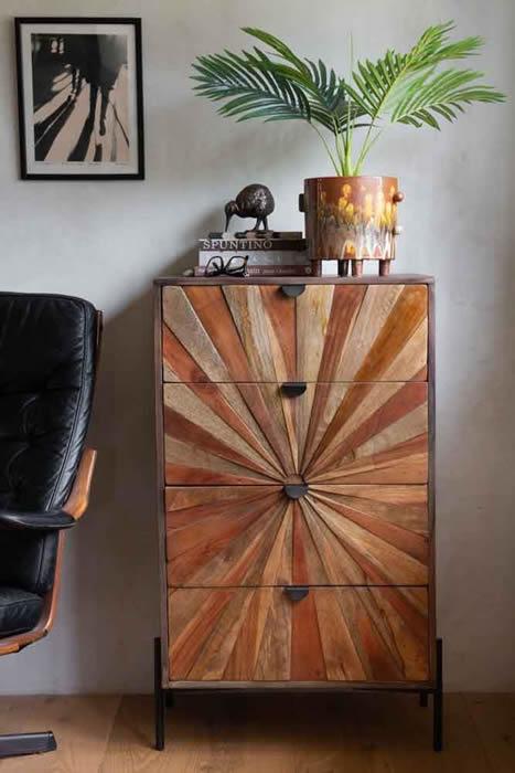 rockettstgeorge sunburst sustainable wood 4 drawer chest of drawers