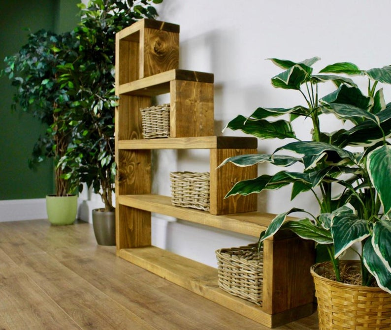 Handcrafted Rustic Bookcase Large Vintage Furniture Industrial Style - uniquehomefurnituree